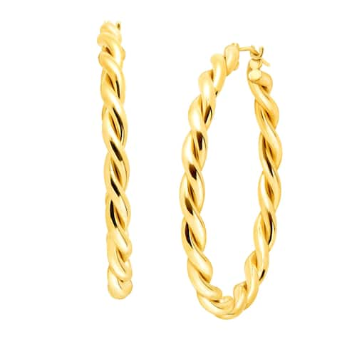 40 mm Twist Hoop Earrings in 14K Gold-Bonded Sterling Silver - Yellow
