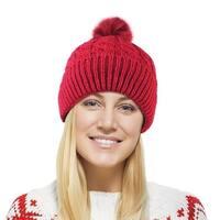 Chunky Cable Knit Beanie Hat With Pom Pom - Winter Soft Stretch Cap Hat - burgundy