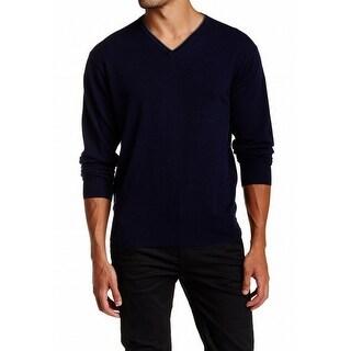 Peter Millar NEW Royal Navy Blue Large L V-Neck Cashmere/Silk Sweater