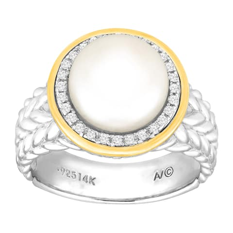 Silver Orchid Normand Button Freshwater Pearl & 1/8 ct Diamond Ring in Sterling Silver & 14K Gold