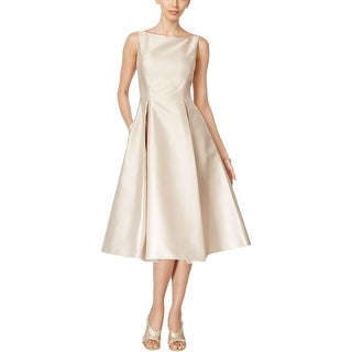 Adrianna Papell Womens Semi-Formal Dress Satin Pleated