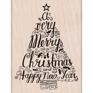 """Hero Arts Mounted Rubber Stamp 3.25""""X4.25""""-Merry Christmas Tree"""