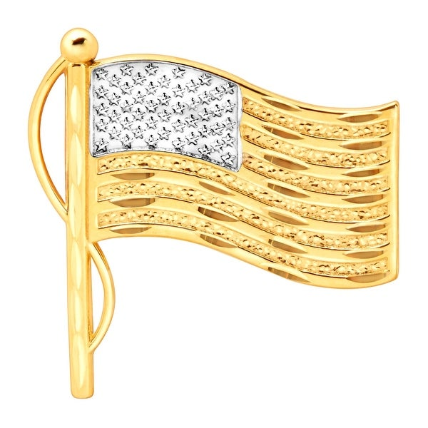 American Flag Pin in 10K Gold with Brass Back Closure