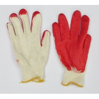 Confitwear String-Knit Gloves With Red Latex Coating, Pack of 10 Pairs