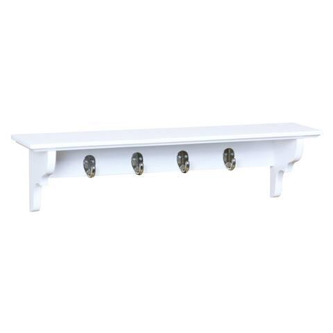 Wood Floating Shelf with Key Hooks, White