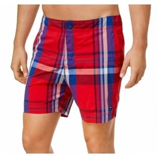 Tommy Hilfiger Red Mens Size XL Trunks Plaid Button-Front Swimwear