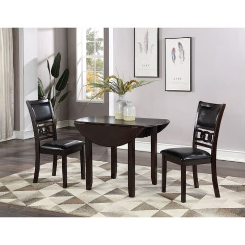 Gia 42-inch Dining Set w/ Drop Leaf Table & 2 Chairs, Ebony, by New Classic Furniture