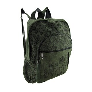 Elephants and Floral Print Cotton Backpack