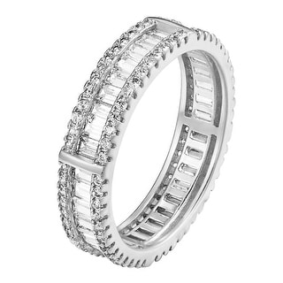 925 Sterling Silver Thick CZ Baguette Eternity Wedding Band Anniversary Ring