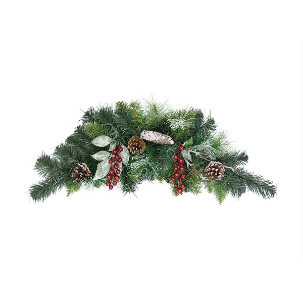 "26"" Pre-Decorated Frosted Pine Cone and Red Berry Artificial Christmas Swag - Unlit"