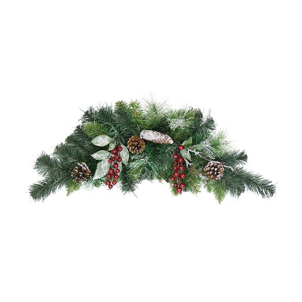 "26"" Pre-Decorated Frosted Pinecone and Berry Artificial Christmas Swag - Unlit - green"