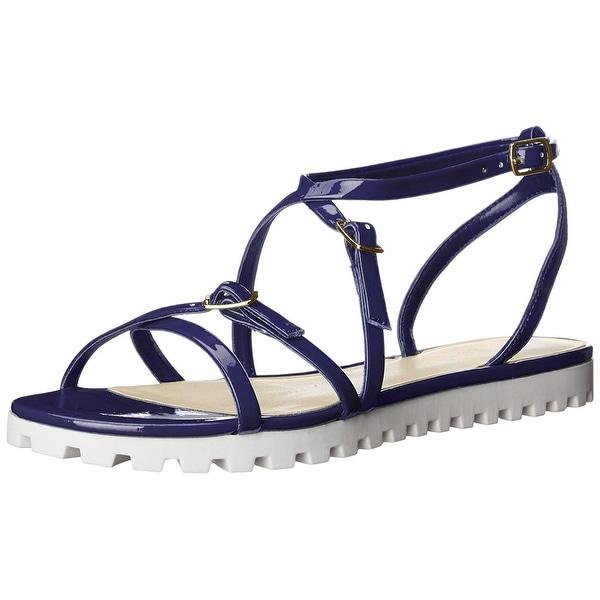 Nine West Women's Sharri Synthetic Gladiator Sandal, Blue, Size 7.5