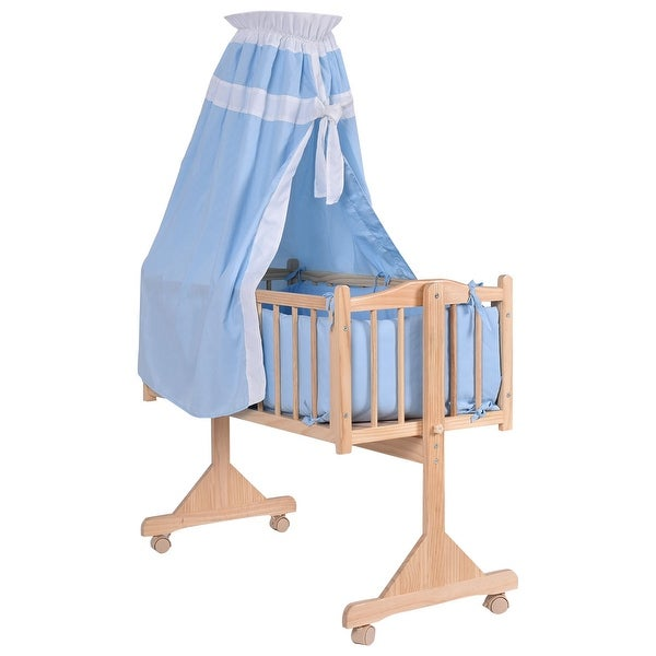 Costway Wood Baby Cradle Rocking Crib Newborn Bassinet Bed Sleeper Portable Nursery Blue