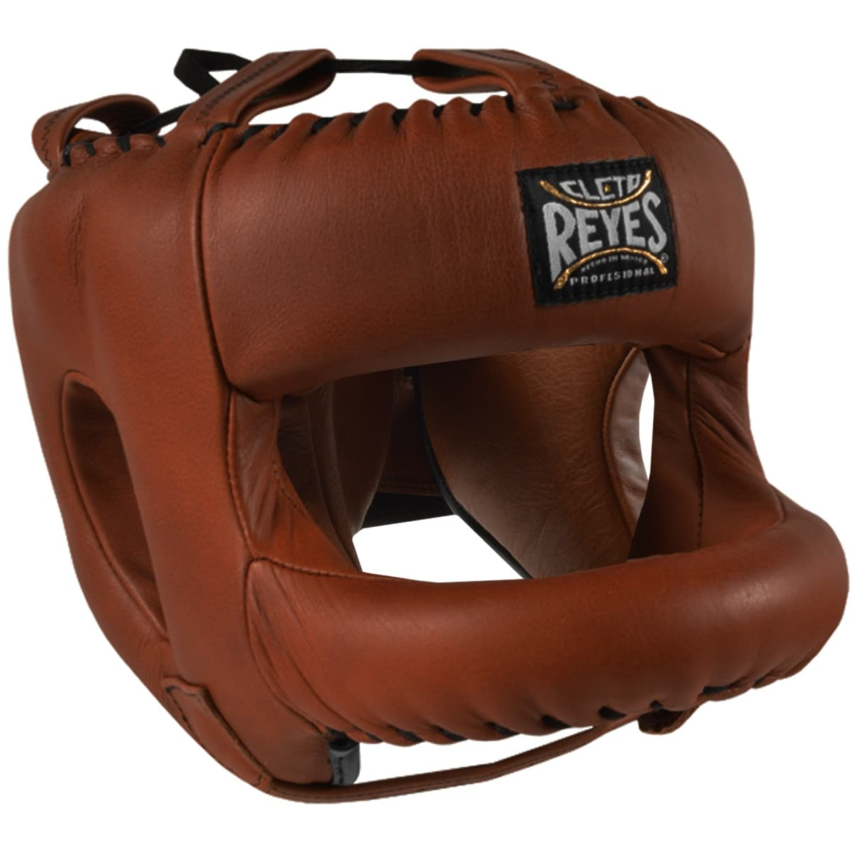Red Cleto Reyes Redesigned Leather Boxing Headgear with Nylon Face Bar