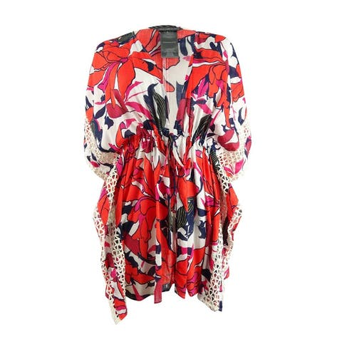 Vince Camuto Women's Tie-Front Caftan Swim Top Cover-Up - Red Multi