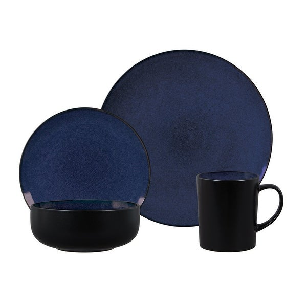 Gibson Novabella 16 Piece Reactive Dinnerware Set: Cobalt Dishes, Bowls and Mugs