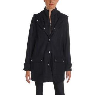 Tommy Hilfiger Womens Car Coat Winter Wool Blend - L