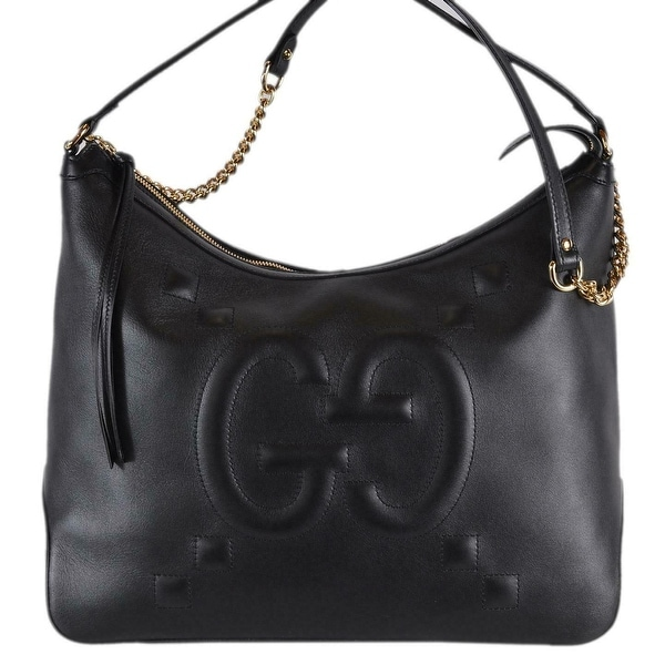 6409999a7156b9 Gucci 474988 Black Leather GG Original Apollo Hobo Purse Handbag W/Chain