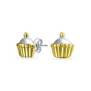 Bling Jewelry Gold Plated .925 Silver Enamel Cupcake Stud Earrings
