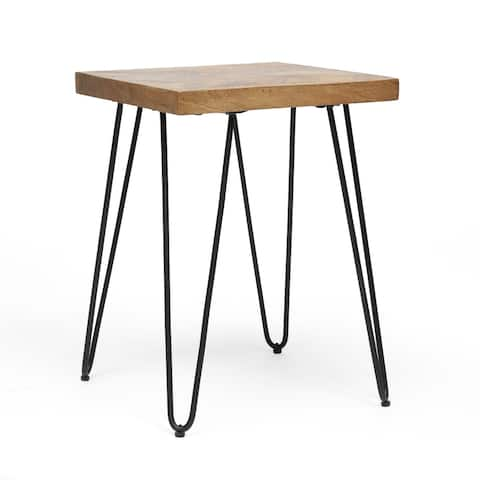 Sanborn Modern Industrial Handcrafted Mango Wood Side Table with Hairpin Legs by Christopher Knight Home