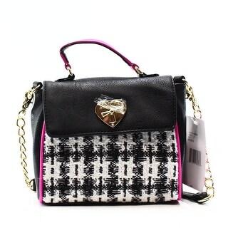 Betsey Johnson NEW Black Pink Tweed Mini Top Handle Satchel Purse
