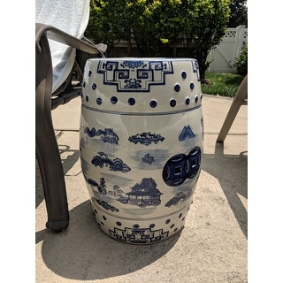 "Safavieh Gateless Mist Chinoiserie Blue Garden Stool - 13"" x 13"" x 18"""