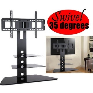 2xhome NEW TV Stand - Modern Universal Integrated Monitor Featuring 35 Degree Swivel & 3 Black Glass Shelf Surfaces