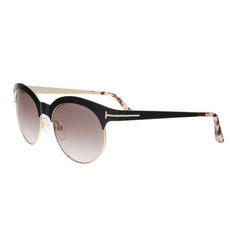 e0d8729a5586e Tom Ford FT0438 5301F ANGELA Black Gold Round Sunglasses - 53-18-135