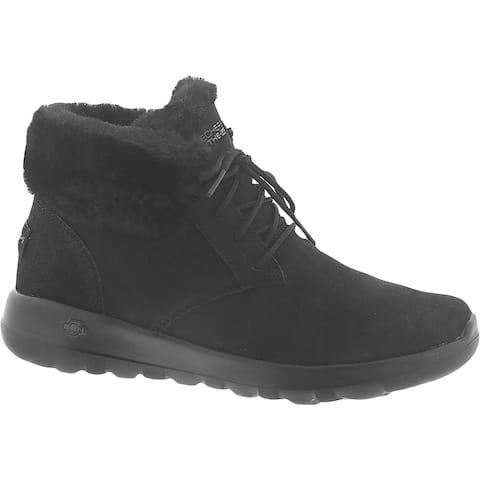 Skechers Womens On the Go Joy Ankle Boots Suede Faux Fur - Black/Black/Suede - 8.5 Medium (B,M)