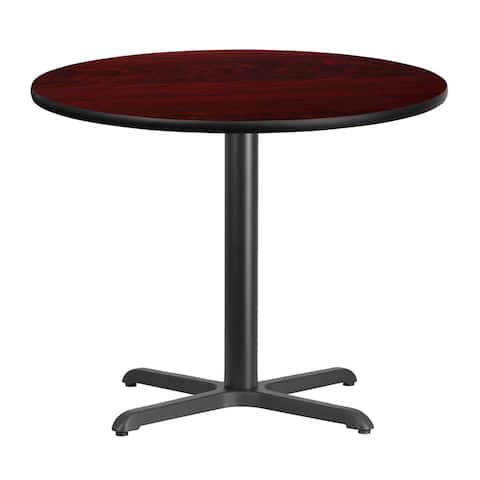 "Dyersburg 36'' Round Mahogany Laminate Table Top w/30"" High X-Base"