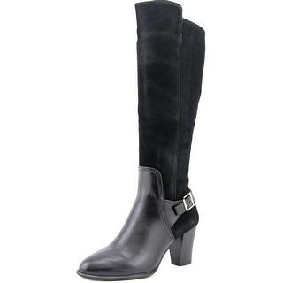 Alfani Careeni Wide Calf Round Toe Leather Knee High Boot