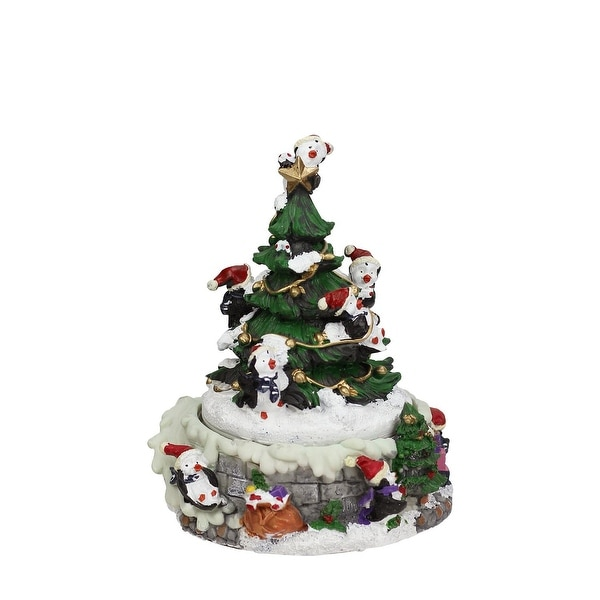 "6"" Animated Penguin and Christmas Tree Winter Scene Rotating Musical Decoration - green"