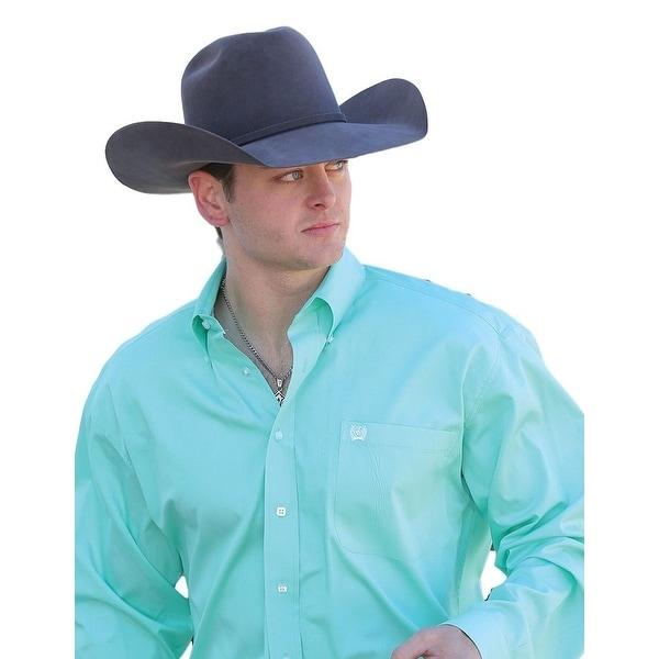 Cinch Western Shirt Mens L/S Necktape Logo Pocket Green