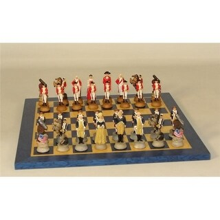 American Revolution On Blue & Tan Board Themed Chess Set