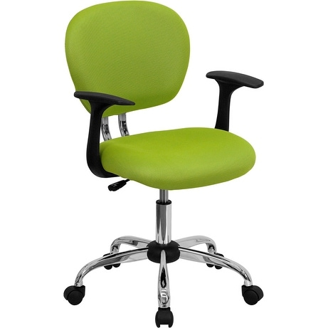 Brielle Collection Mid-Back Apple Green Mesh Swivel Home/Office Task Chair w/Chrome Base & Arms