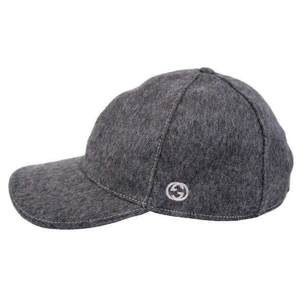 Gucci 353505 Men Dark Grey Felted Wool Red Green Band GG Baseball Cap Hat L 3871144ee5de