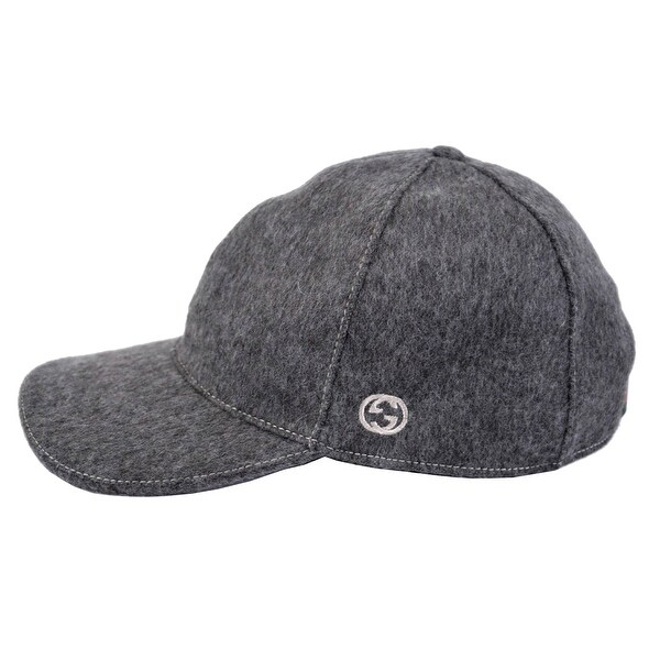 387380b02c2 Gucci 353505 Men Dark Grey Felted Wool Red Green Band GG Baseball Cap Hat XL