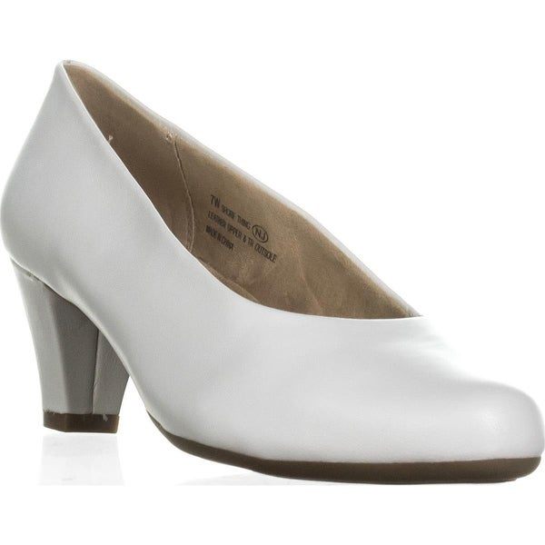 Aerosoles Shore Thing Classic Kitten Heel Pumps, White Leather