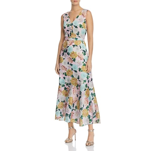 Sam Edelman Womens Midi Dress Floral Double-V - Pink Multi
