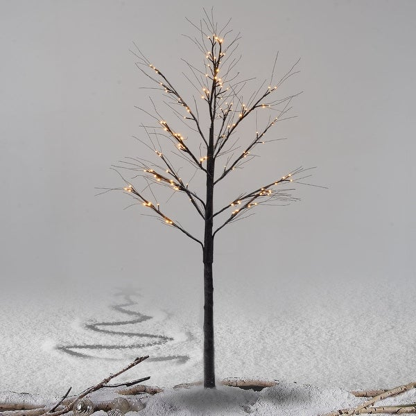 Costway 8Ft Christmas Xmas Brown Birch Snow Tree LED Light Warm Decorative Festival Party
