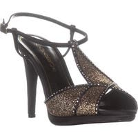 Caparros Ecstasy Rhinestone T-Strap Evening Sandals, Black Gold