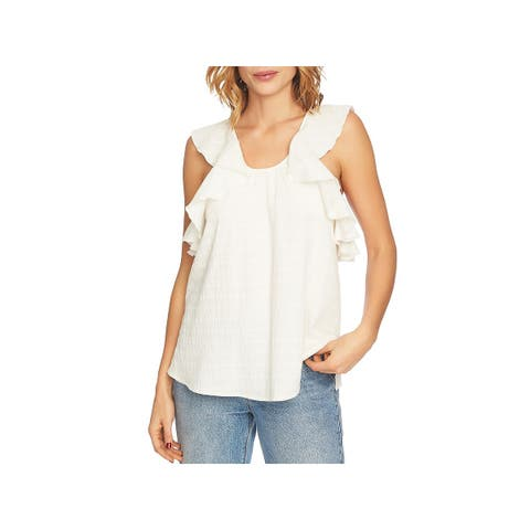 1.State Womens Pullover Top Crossover Ruffled