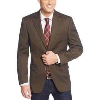Tasso Elba Brown Herringbone Red Windowpane 2 Button Sportcoat Blazer 42 Long