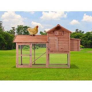 """82"""" Wood Chicken Coop House Hutch Run"""