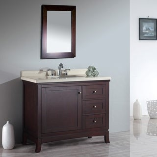 """Miseno MVVA42 42"""" Free Standing Vanity Set with Cabinet, Marble Vanity Top, Undermounted Sink and Widespread Faucet Holes"""
