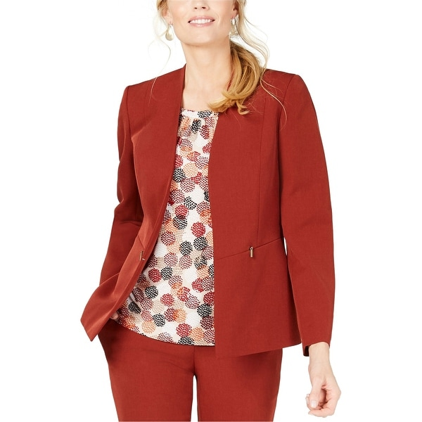 Kasper Womens Collarless Blazer Jacket, Red, 4. Opens flyout.