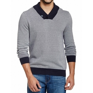 14th & Union NEW Blue Navy Mens Large L Shawl Collar V-Neck Sweater