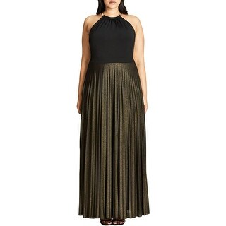 City Chic Womens Plus Maxi Dress Metallic Pleated (2 options available)