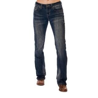 Cowgirl Tuff Western Denim Jeans Womens Wild Pathmaker Med Wash