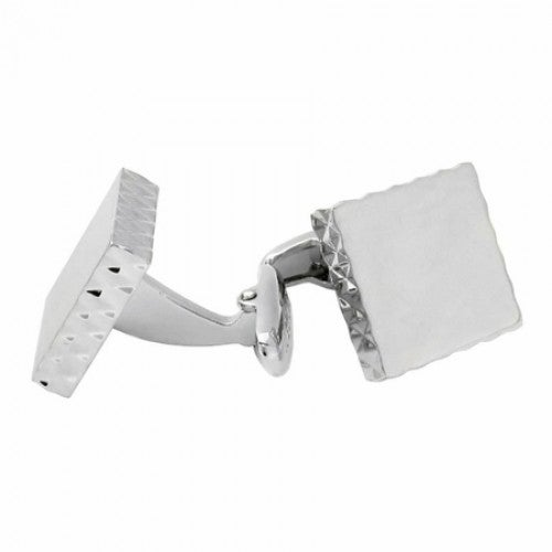 Diamond Edge Silver Cufflinks